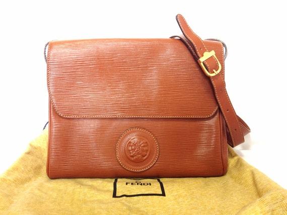 0198a3a744e1 Vintage Fendi brown epi leather messenger bag shoulder purse