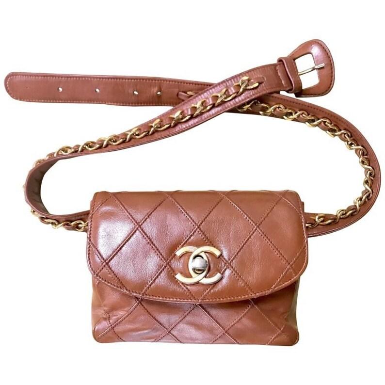9143da062b5e 1990s. Vintage CHANEL calf leather brown belt bag fanny pack | Etsy