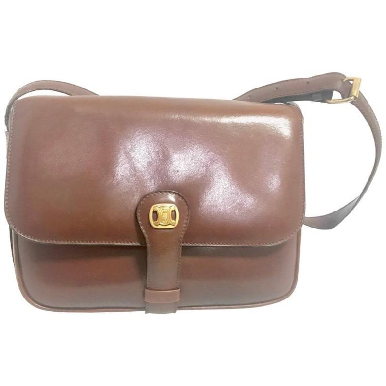 ae7aa515a7 Vintage CELINE genuine brown leather shoulder bag with golden