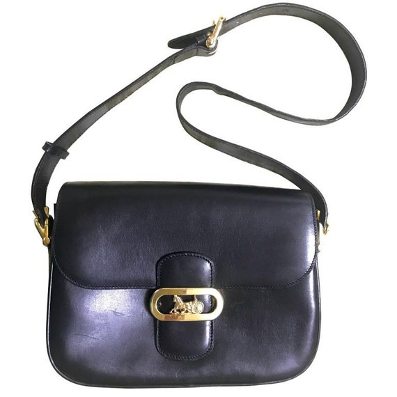 500d48587c73 Vintage Celine black leather shoulder bag with golden logo and
