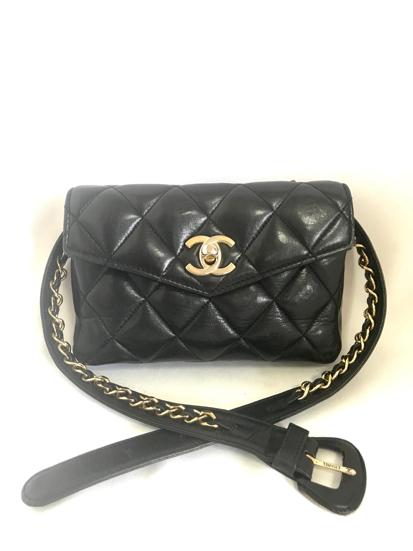 Vintage CHANEL black lamb belt bag fanny pack with golden