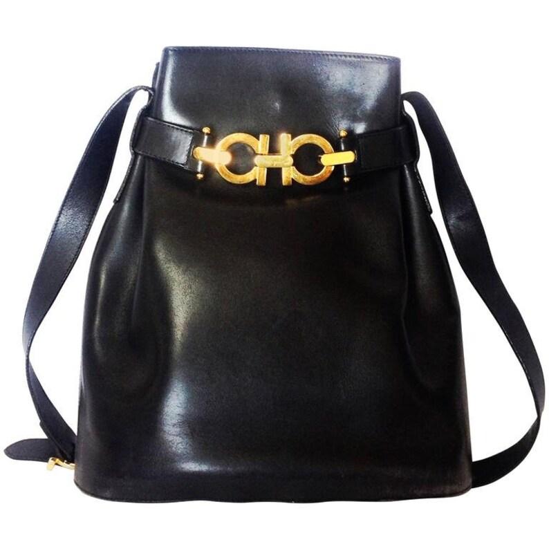 4db38d105e7e Vintage Salvatore Ferragamo dark navy leather hobo style