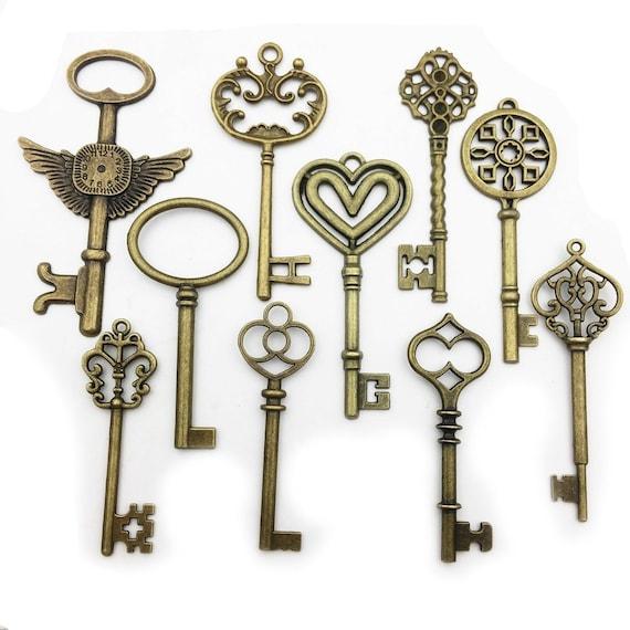 Large Skeleton Key Pendants Big Keys Wholesale Skeleton Keys Bulk Skeleton Keys Silver Key Pendants Antiqued Silver 83mm 5 pieces