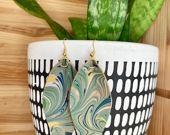 Blue Green and Yellow Genuine Marbled Leather Earrings | leaf | tear drop | Joanna Gaines | Fixer Upper | Swirl Pattern | Lightweight