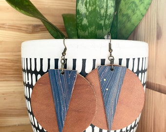 2 inch (50mm) Circle and Triangle Leather Earrings - Marbled Leather - Lightweight - Colorful - Tan - Navy - Rainbow