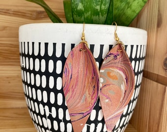 Pink Orange and Purple Genuine Marbled Leather Earrings | leaf | tear drop | Joanna Gaines | Fixer Upper | Swirl Pattern | Lightweight