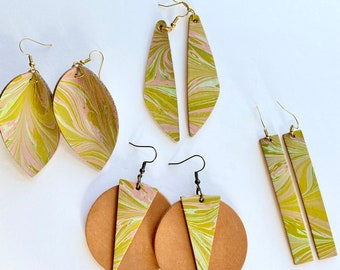 Chartreuse Mint and Pale Pink Marbled Leather Earrings | leaf | tear drop | circle and triangle | rectangle |Geometric Shapes | Genuine