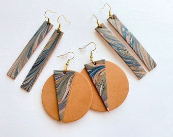 Genuine Leather Navy Blush Pinn and Bronze Marbled Earrings | Circle and Triangle | Rectangle Drop | Lightweight | Handmade | One of a Kind