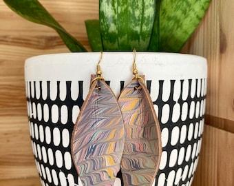 Multicolored Genuine Marbled Leather Earrings | leaf | tear drop | Joanna Gaines | Fixer Upper | Zigzag Pattern | Lightweight