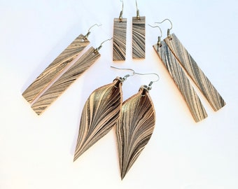 Black and Silver Marbled Genuine Leather Earrings | Long drop | Leaf Shape | Lightweight | Handmade | Unique | Joanna Gaines