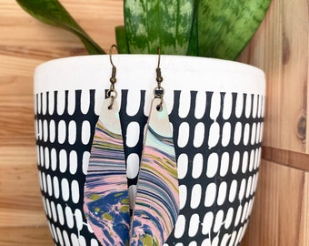 Purple Green and Pink Marbled Leather Earrings | Long drop | Leaf Shape | Oblong | Lightweight |Handmade | Unique | Boho