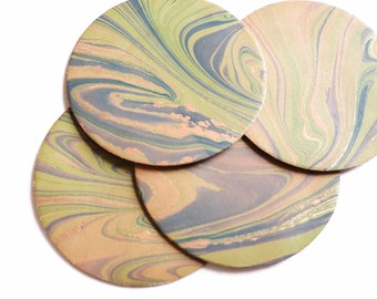 4 pack of Marbled Leather Coasters - 3.5 inch 90 mm Circle Coaster - Drinkware - Table Decor