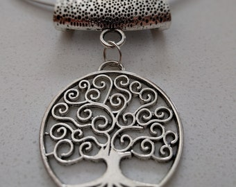 Tibetan Silver Tree of Life Pendant on Stainless Steel Choker Necklace