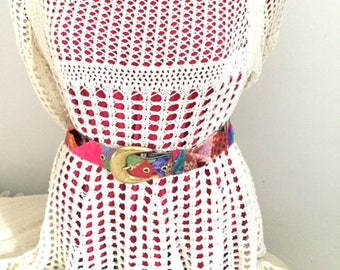 Fabric Boho Belt with lots of pinks and a brass buckle. Small Belt. Fabric Belt. Colorful Fashion. Handmade One of a Kind. Womens