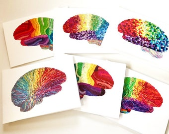 Rainbow Brain Blank Notecards. Cards for Doctor. Cards for Neurologist. Brain cards. Brains. Neuro notes. Thank you cards for doctor