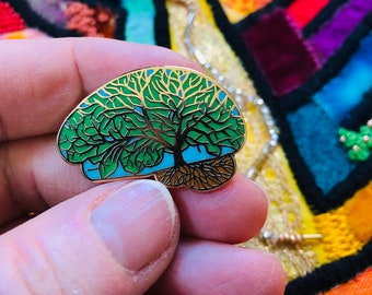 Neuro Art. Brilliant Brain Pins, Gift for Doctor, Nurse, Scientist, Brain Tumor or Cancer Survivor. Tree brain. Lapel pins.