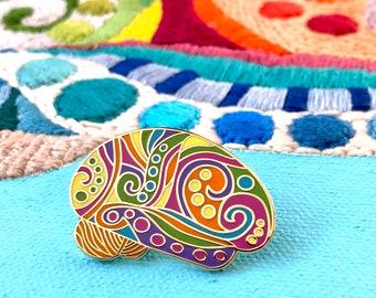 Mardi Gras Brain Pin. Brilliant Brain Pins, Gift for Doctor, Nurse, Scientist, Brain Tumor or Cancer Survivor. Lapel pins.