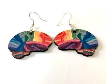 Rainbow Brain Earrings