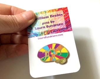 JOY Brilliant Brain Pin, Gift for Doctor, Nurse, Scientist,  Brain Injury, TBI, Brain Tumor, Brain Awareness, Inspiration, Neuroscience