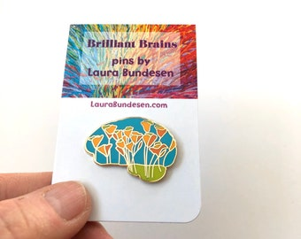 California Poppy Brain Pin. Brilliant Brain Pins, Gift for Doctor, Nurse, Scientist, Brain Tumor or Cancer Survivor. Lapel pins.