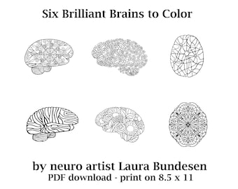 Brilliant Brains Coloring Pages for Neuro Nerds who love to color, students, neuroscientists, brain injury survivors and anyone with a brain