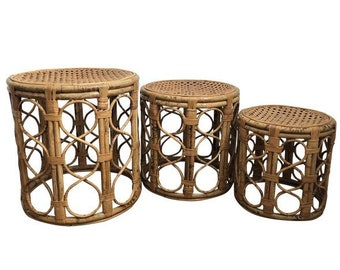 Vintage Bamboo Rattan Side Tables, Set Of 3   Vintage Bamboo, Vintage Rattan,  Boho Chic Tables, Bamboo Drum Tables, Bamboo Accent Tables