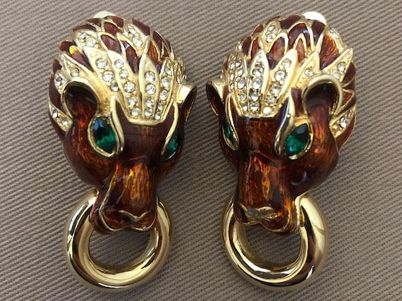 Les Bernard Lion Doorknocker Earrings