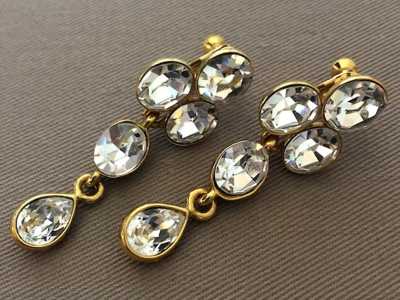 80s Sparkling Dangle Clip On Earrings NAPIER