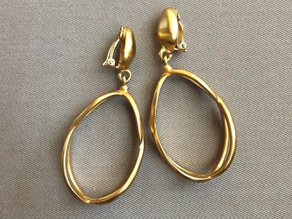 ANNE KLEIN Drop Hoop Statement Earrings Runway Hau