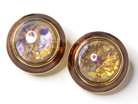Joan Rivers Opalescent Moon Stone Button Statement