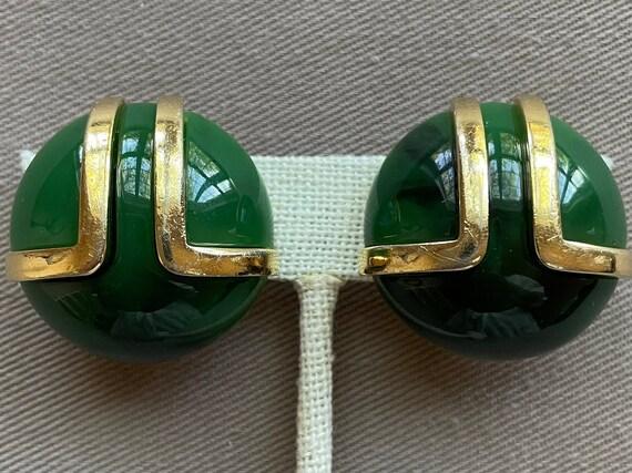 Vintage LANVIN Signed Faux Jade Lucite MOD Clip O… - image 1
