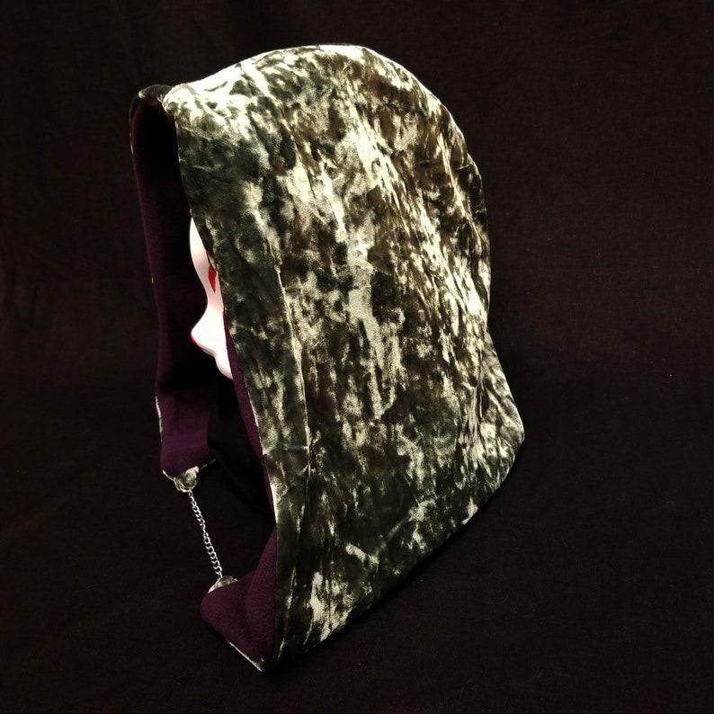 Green Gilded Velvet Festi Hood with Warm Dark Purple Luxe Fleece Inner Lining Space Festival Hood Wear Metal Shiny Reflective Shimmery
