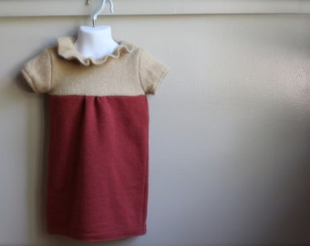 Felted Wool Girls Dress, Timeless Dress, Size 3 Toddler, Fall Wool Dress