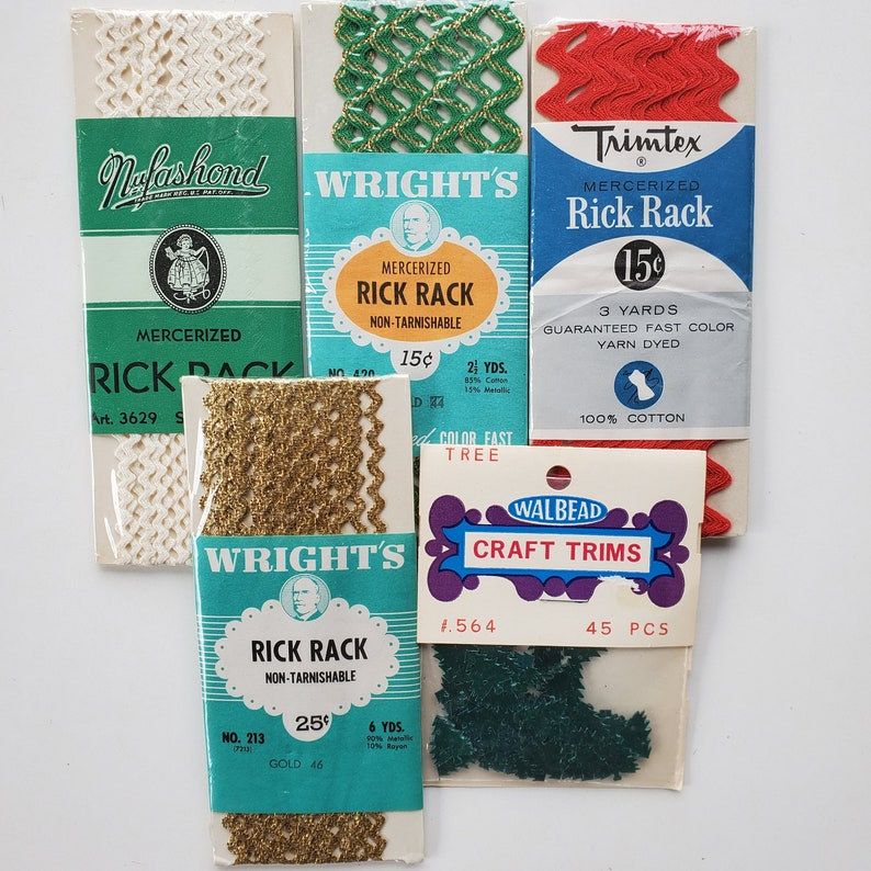 Rick Rack Set with green tree sequins Vintage sewing crafting trims Holiday Christmas 4 pk Set #3