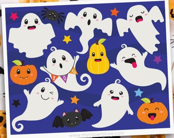 Ghouls and Ghosts Clipart, Halloween, Kawaii, pumpkins, ghosts, cute bat, spider, Sublimation SVG Clip Art