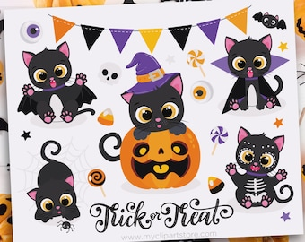 Halloween Cats Clipart, Black Cat with Pumpkin, witch outfit, broom, candy corn, trick or treat, Sublimation SVG Clip Art