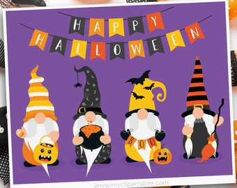 Halloween Gnomes Clipart, witch, broom, candy corn, cauldron, trick or treat, Scandinavian Gnomes, Commercial Use, Sublimation, HTV, SVG