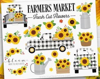 Buffalo Check Truck Clipart, Farmhouse Sunflower Truck SVG, Buffalo Plaid Truck Clip Art, Black and White, Digital Download