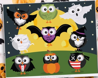 Halloween Owls Clipart, Vampire, Witch, Ghost, Mummy, Pirate, Spooky, Pumpkin, Frankenstein, Sublimation SVG Clip Art