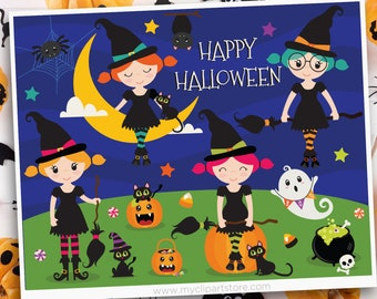 Halloween Witches Clipart, Black cat, cauldron, ghost, witch, broom, hat, moon, candy, spooky, Sublimation SVG Clip Art