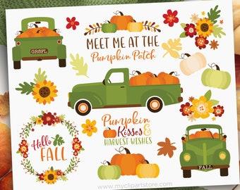 Pumpkin Truck Clipart, Thanksgiving, Farmhouse, Vintage, Fall, Autumn, Green Truck with pumpkins, Clip Art Commercial Use, Sublimation, HTV,