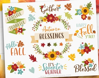 Fall Flowers Clipart, Autumn, Thanksgiving, Farmhouse, Commercial Use, Farmhouse, blue, yellow, red, orange, Vector clip art, HTV, png