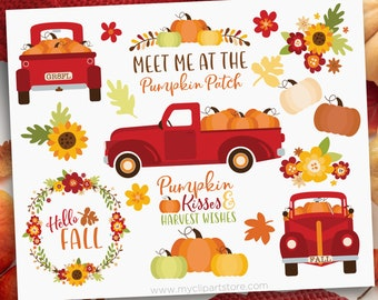 Pumpkin Truck Clipart, Thanksgiving, Farmhouse, Vintage, Fall, Autumn, Red Truck with pumpkins, Clip Art, Commercial Use, Sublimation, HTV,