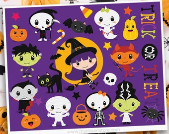 Trick or Treat Halloween Clipart, Kids wearing costumes, Witch, Skeleton, Vampire, Ghost, Zombie, Sublimation SVG Clip Art