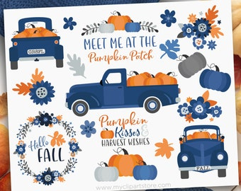Pumpkin Truck Clipart, Thanksgiving, Farmhouse, Vintage, Fall, Navy Blue Truck with pumpkins, Clip Art Commercial Use, Sublimation, HTV, SVG