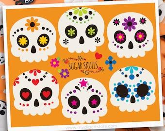 Sugar Skulls Clipart, Decorated Skulls, Mexico, Day of the Dead, Día de Muertos, Halloween, Sublimation SVG Clip Art