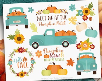 Pumpkin Truck Clipart, Thanksgiving, Farmhouse, Vintage, Fall, Autumn, Teal Truck with pumpkins, Clip Art, Commercial Use, Sublimation, HTV,