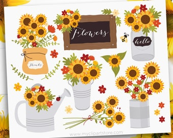 Cottage Sunflowers Clipart, Farmhouse, Fall, Autumn, Thanksgiving, mason jar, watering can, Clip Art, Commercial Use, Sublimation, HTV, SVG