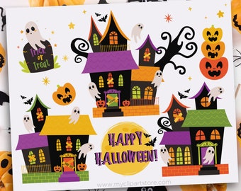 Haunted House, Halloween Clipart, Cute Ghosts, Haunting, Jack O'Lanterns, Spooky tree with swirls, Grave, Commercial Use, Sublimation, HTV