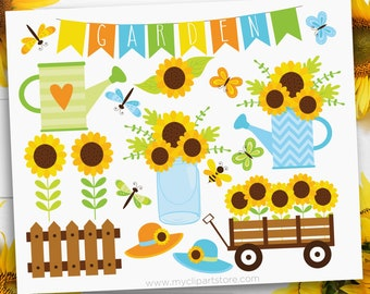 Sunflower Garden Clipart, Spring flowers, Gardening, butterfly, dragonfly, Summer sun hat, Clip Art, Commercial Use, Sublimation, HTV, SVG